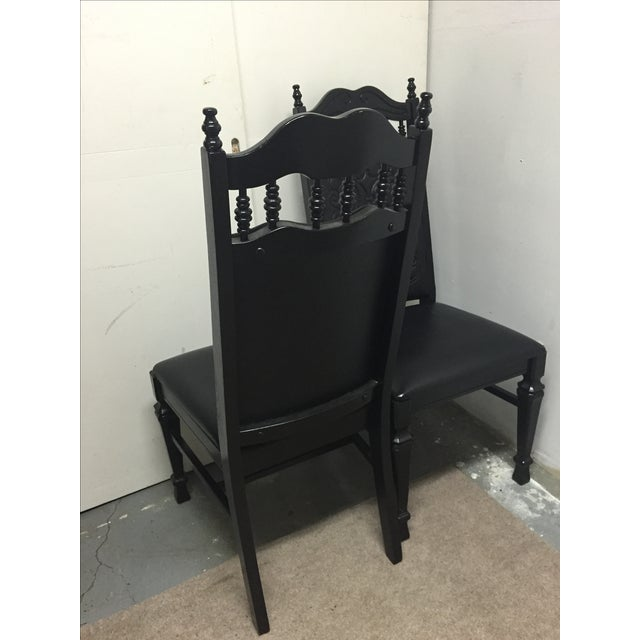 Black Mexican Leather Chairs - A Pair - Image 5 of 6