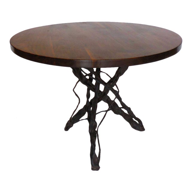 Custom Walnut Wood Side Table With Custom Hand Forged Vine Base For Sale