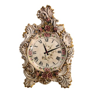 20th Century Italian Capodimonte Porcelain Large 22x32 Wall Clock For Sale
