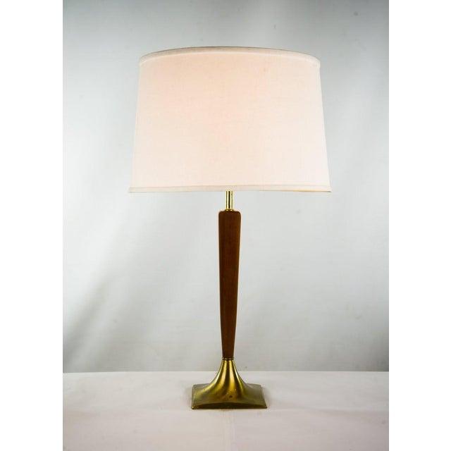 Danish Modern Teak & Brass Table Lamp For Sale - Image 10 of 10