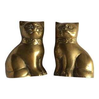 Brass Cat Figurines - A Pair For Sale