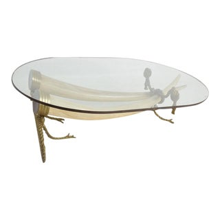 Hollywood Regency Coffee Table Faux Ivory & Bronze by Valenti For Sale