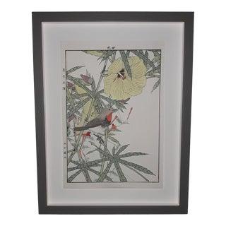 "Imao Keinen ""Brown Bird, Hibiscus Plant"" Custom Framed Original Art For Sale"