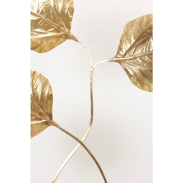 1 of 2 Huge Three Rhubarb Leaves Brass Floor Lamp by Tommaso Barbi For Sale - Image 11 of 13