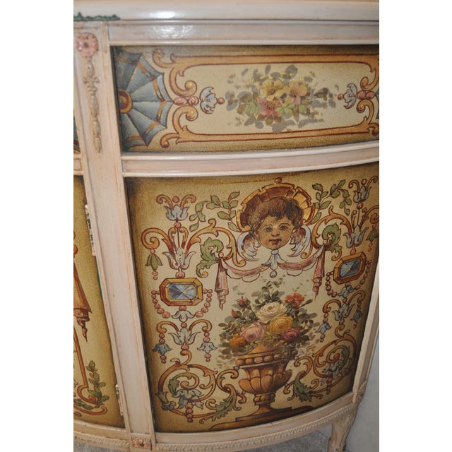 French Painted Demilune Cabinet C. 1940 For Sale - Image 4 of 7