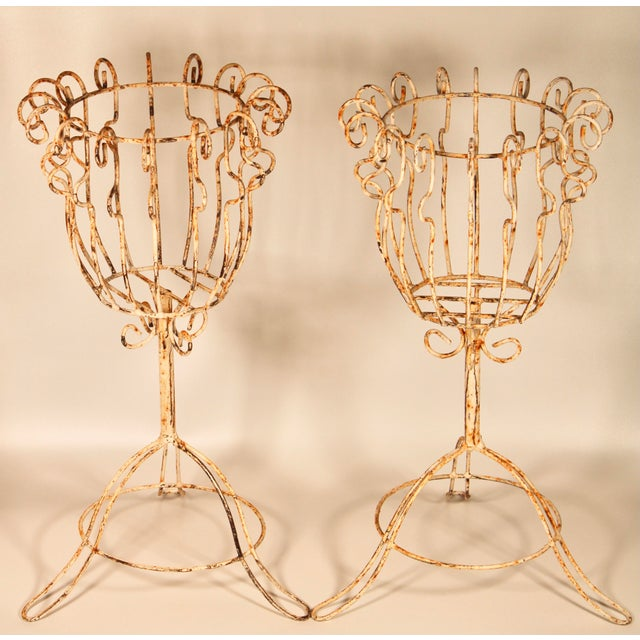 Large French Pedestal Cast Iron Basket Jardinieres - a Pair For Sale - Image 13 of 13