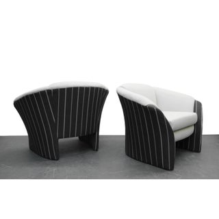 Pair of Oversized Barrel Back Italian Lounge Chairs with Splayed Arms Preview