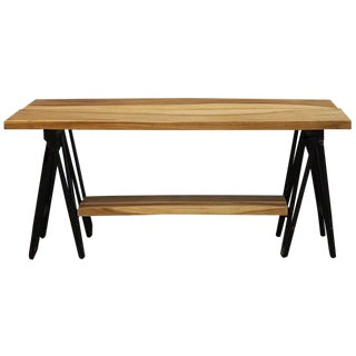 Acacia Wood Coffee Table on Iron Base For Sale