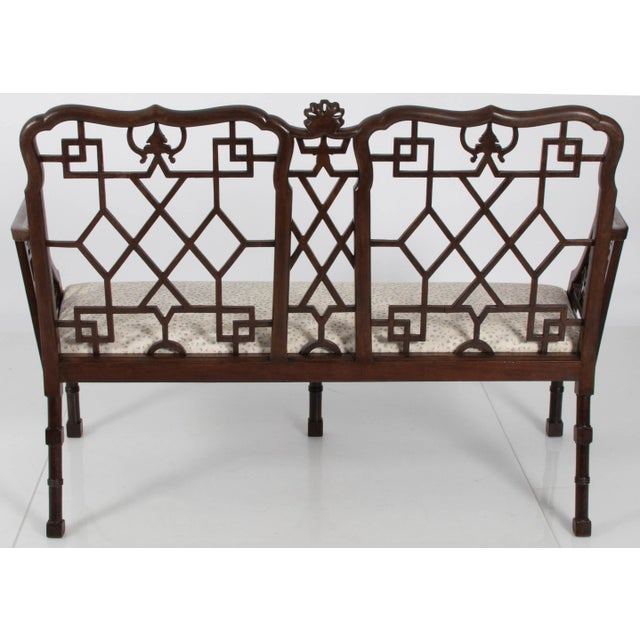 1950s English Chinese Chippendale Mahogany Settee For Sale - Image 5 of 9