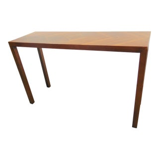 Mid Century Lane Parsons Style Walnut Console Table For Sale