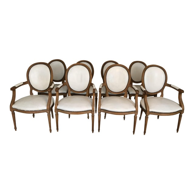 1960s Vintage Baker Furniture Leather Dining Chairs-Set of 8 For Sale