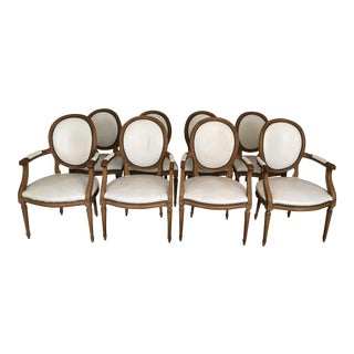 1960s Vintage Baker Furniture White Leather Dining Chairs-Set of 8 For Sale