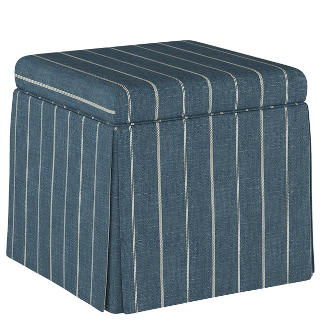 Fritz Indigo Skirted Storage Ottoman For Sale In Chicago - Image 6 of 7