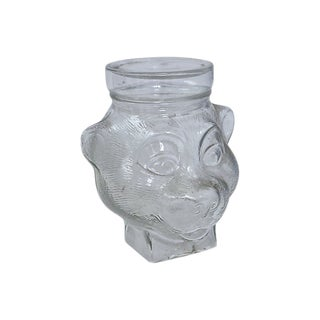 1920s French Glass Figural Bear Cookie Jar For Sale