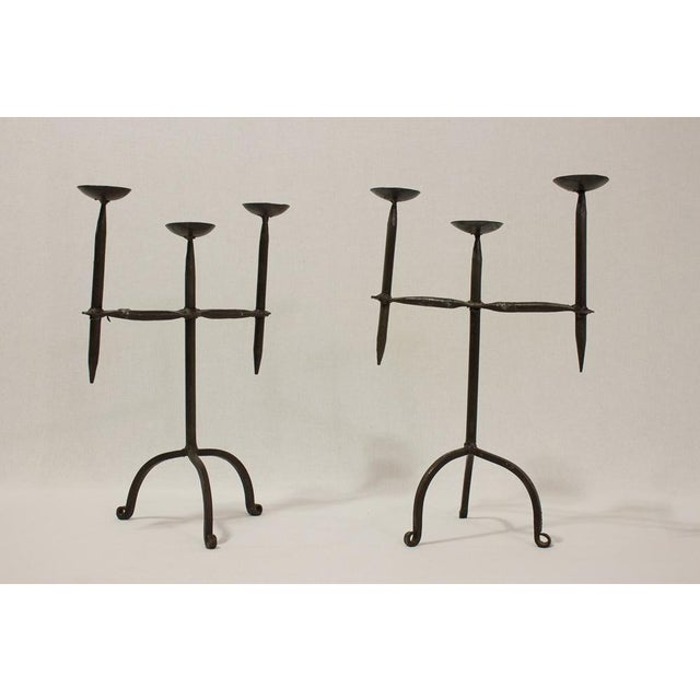Hand Forged Iron Metal Candleholders- A Pair - Image 2 of 6
