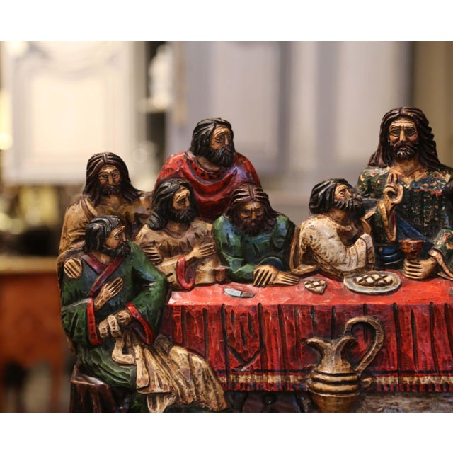 """Mid-20th Century Spanish Carved Polychromed and Gilt """"Last Supper"""" Sculpture For Sale - Image 4 of 10"""