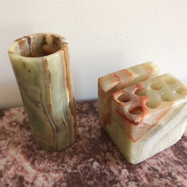 Modern Marble Onyx Desk Accessories Set Of 3 For Image 10