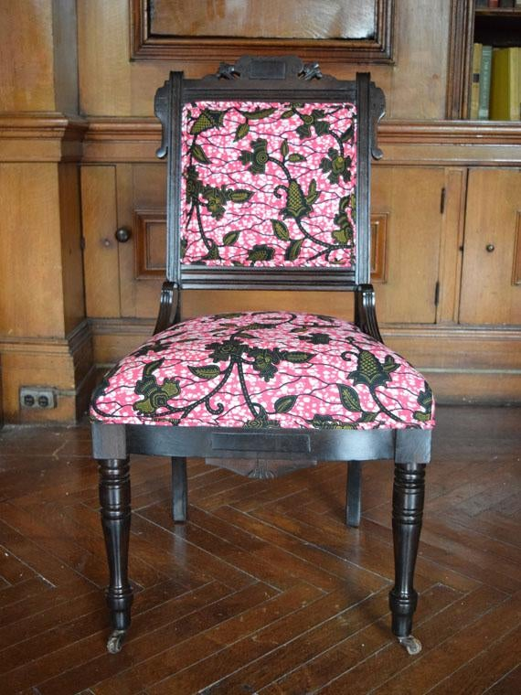 African Print Victorian Eastlake Side Chair   Image 3 Of 8