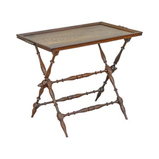 Antique Oak Butlers Tray on Folding Stand