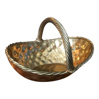 1980s Hollywood Regency Brass Hammered Basket With Rope Handle For Sale