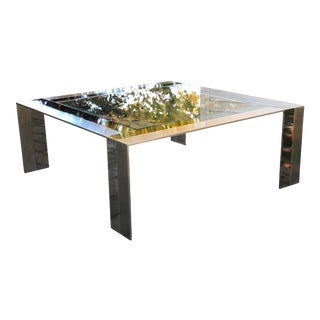 1980s Elaine Cohen Steel and Nickel Coffee Table for Design Institute of America For Sale