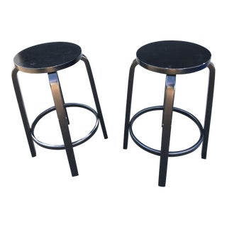 Alvar Aalto 64 Black Lacquered Bar Stools- a Pair For Sale