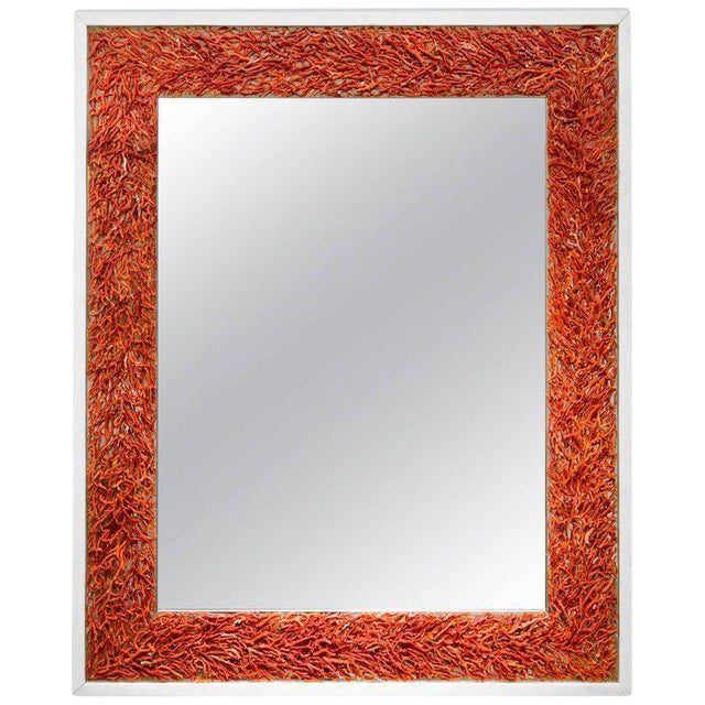 Kam Tin, Coral and Opaline Glass Mirror, France, 2017 For Sale
