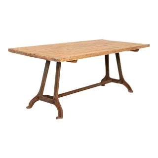 Vintage Industrial Farm Table With Iron Legs For Sale