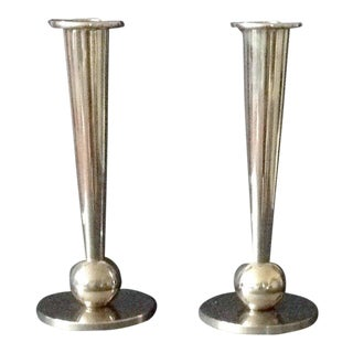 1970s Art Deco Chrome Candlesticks - a Pair