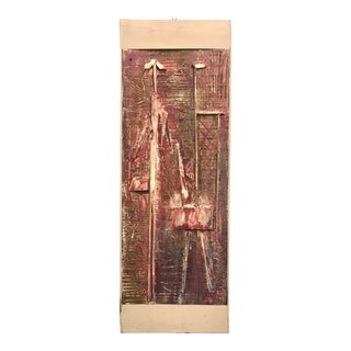 1950s Brutalist Assemblage Figural Abstract Painting For Sale