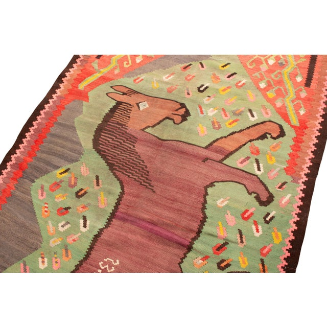 """Traditional Traditional Colorful Pictorial Donkey Wool Kilim Rug-4'3x7'10"""" For Sale - Image 3 of 7"""