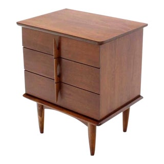 Walnut Three Drawer Nightstand Chest Solid Walnut Carved Pulls For Sale