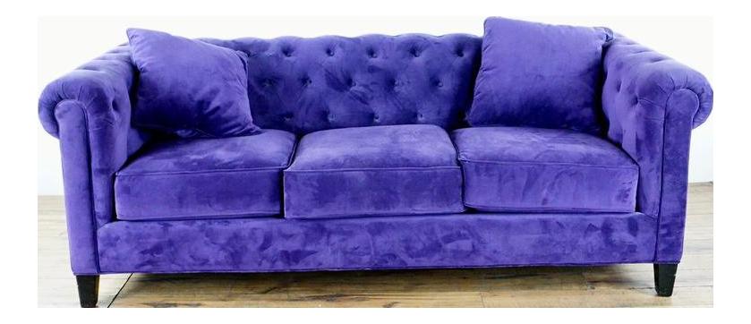 Contemporary Blue Velvet Upholstered Chesterfield Sofa