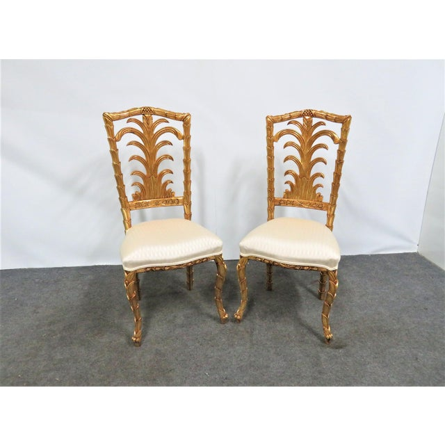 Gold French Gold Gilt Leaf Carved Side Chairs- a Pair For Sale - Image 7 of 7