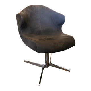 Ligne Roset Alster Office Chair in Brown Suede For Sale