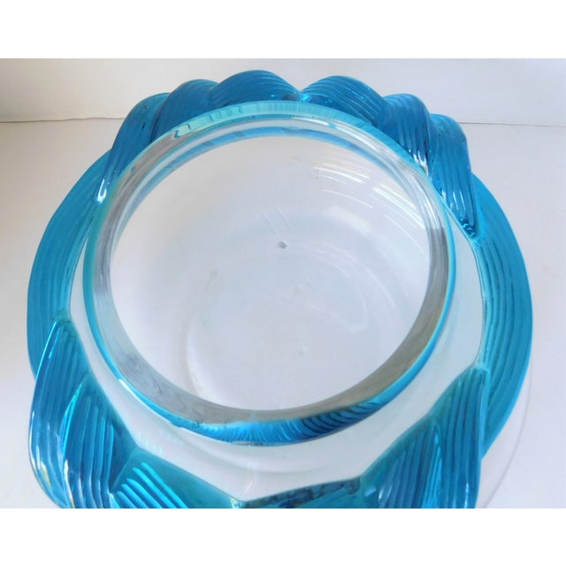 1980s 1980s Turquoise and Clear Crystal Vase/Vessel For Sale - Image 5 of 13
