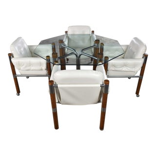 Modern Game Table or Dining Table Glass Chrome Oak With Four White Rolling Chairs For Sale