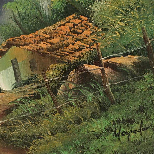 Green Vintage Hillside Landscape Paintings - A Pair For Sale - Image 8 of 10
