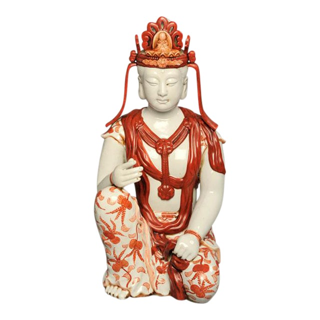 Japanese Hand-Painted Porcelain Bodhisattva Sculpture - Image 1 of 8
