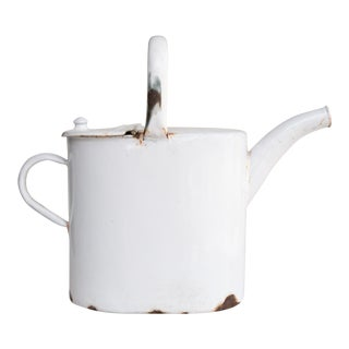 Antique Belgian White Enamelware Watering Can For Sale