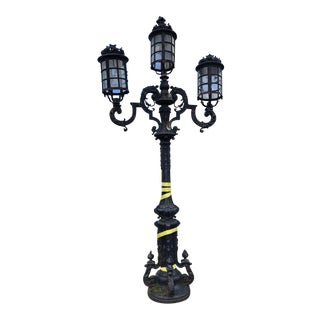 Monumental Pair of Cast Iron Italian Victorian Genuine Street Lamps, Circa 1910 For Sale