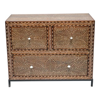 Wood and Bone Inlay Bedside Cabinet With Knobs Metal Stand For Sale