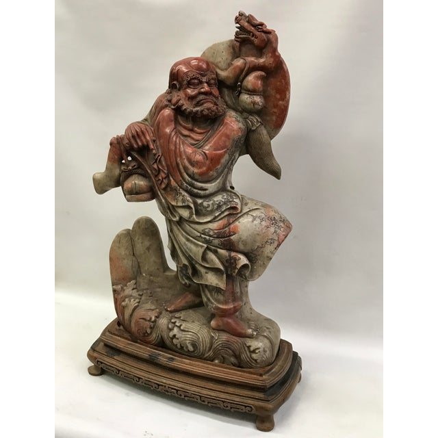 Late 20th Century Chinese Art Carved Soapstone Monk With Wood Stand For Sale - Image 5 of 10