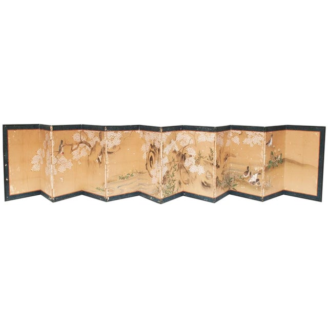 17th-18th C. Japanese Twelve-Panel Byobu Screen For Sale
