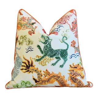 """Designer Chinoiserie Asian Colorful Dragon Feather/Down Pillow 24"""" Square"""