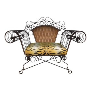 Boho Chic Iron and Rattan Scroll Arm Lounge Chair - 3 Available For Sale