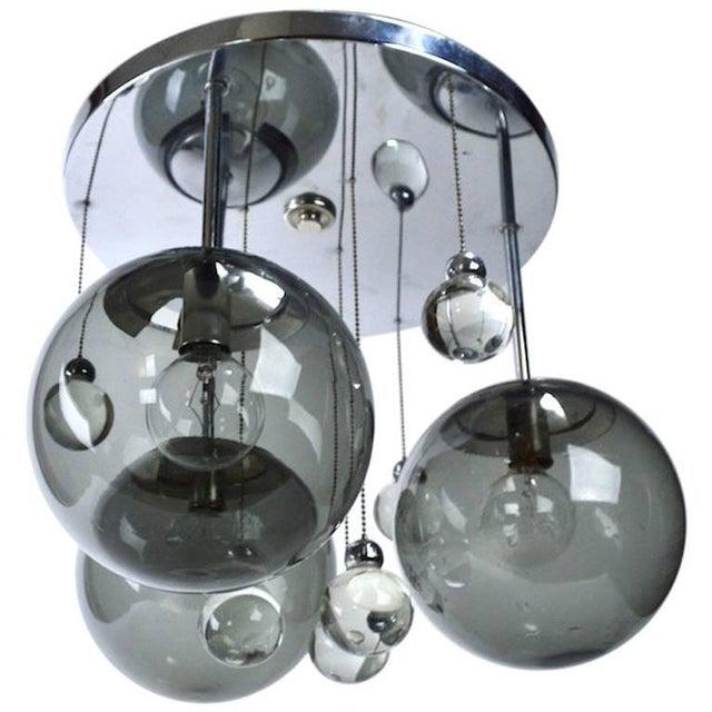 Transparent Chrome Lightolier Flush Mount Bubble Chandelier For Sale - Image 8 of 8