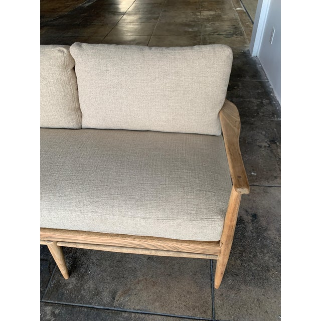 MCM Danish Wood and Woven Cane Couch For Sale - Image 9 of 10