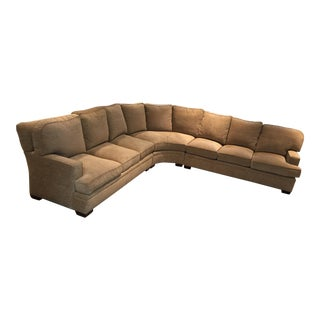 Custom Ecru Chenille Upholstered Sectional Sofa - 3 Pc. For Sale
