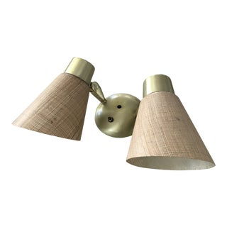 French Mid-Century Fiberglass and Brass Double Wall Sconce For Sale